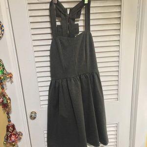ModCloth Gray Zip-up Dress w/ Bows
